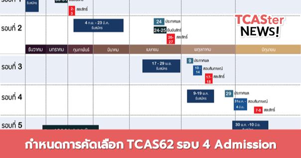 ทวนอีกครั้ง! กำหนดการคัดเลือก TCAS62 รอบ 4 Admission